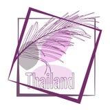 Palmettes tropicales et calligraphie Thaïlande Slogan de typographie dans le cadre illustration libre de droits