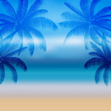 Palmier abstrait de silhouette dans la conception plate d'icône et la mer à midi Image libre de droits