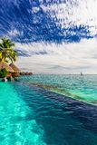 Palmier accrochant au-dessus de la piscine d'infini et de l'océan, Tahiti, P français images stock