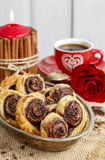 Palmier biscuits - french cookies made of puff pastry and chocol Royalty Free Stock Photography