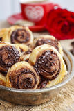 Palmier biscuits - french cookies made of puff pastry and chocol Royalty Free Stock Photos