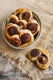 Palmier biscuits - french cookies made of puff pastry and chocol Stock Images