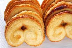 Palmier cookies. Closeup on a group of fresh and tasty palmier cookies Royalty Free Stock Images