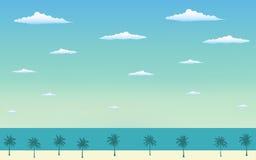 Palmier de silhouette sur la plage en conception plate d'icône et ciel bleu Photo libre de droits