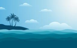 Palmier de silhouette sur le rivage à midi avec le ciel bleu de couleur à l'arrière-plan plat de conception d'icône Photographie stock