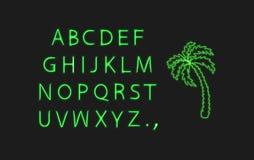 Palmier de vecteur et lettres au néon, illustration verte au néon d'isolement sur le fond foncé illustration de vecteur