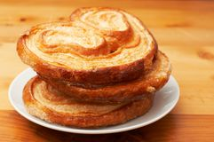 Palmier pastries on plate Stock Image