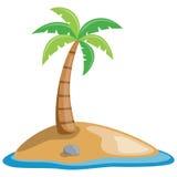 Palmier sur une petite île Photo libre de droits