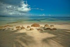 Palmiers au-dessus de lagune tropicale avec la plage sauvage photos stock