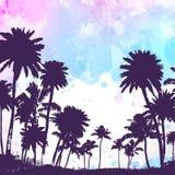 Palmiers de vecteur sur le fond d'aquarelle illustration libre de droits