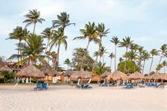 Palmiers, parapluies d'herbe et chaises de plage sur la plage chez Aru Image stock