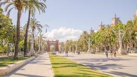 Palmiers sur le boulevard à Barcelone Photo stock