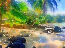 Palmiers tropicaux d'aquarelle par la plage en Hawaï Image libre de droits