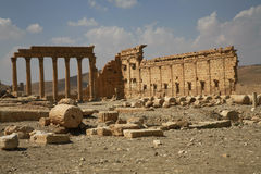 Palmira, Syria. Ruins of an old city. II thousand years BC. The Pearl of Syria. The city is constructed by the Roman empire Royalty Free Stock Photos