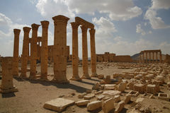 Palmira, Syria. Ruins of an old city. II thousand years BC. The Pearl of Syria. The city is constructed by the Roman empire Royalty Free Stock Image