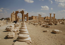Palmira, Syria. Ruins of an old city. II thousand years BC. The Pearl of Syria. The city is constructed by the Roman empire Royalty Free Stock Photography