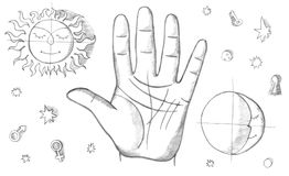 Palmistry, fortune telling. With lines on hand Stock Photo