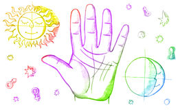 Palmistry, fortune telling. With lines on hand Stock Images