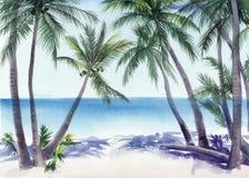 Palmowa miejscowość nadmorska Fotografia Royalty Free