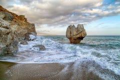 Palmowa plaża Preveli, Crete, Grecja zdjęcia royalty free