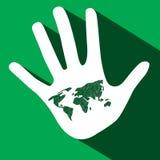 Palmowa ręka z Światową mapą ilustracji