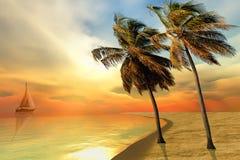 Palmowa wyspa ilustracji