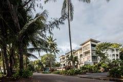 Palmowa zatoczki plaża przy wschodem słońca z drzewkami palmowymi Obrazy Royalty Free