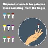 Palmowi i rozporządzalni lancety dla bezbolesnego krwionośnego próbobrania od palca Fotografia Royalty Free