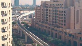 Palmowy metro linii 4k czasu upływ od Dubai zdjęcie wideo