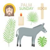 Palmowy Niedziela ikony płaski set ilustracja wektor