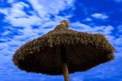 Palmparasol op maanlichtstrand Royalty-vrije Stock Afbeelding