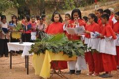 Palmsöndag i Batam, Indonesien royaltyfria foton