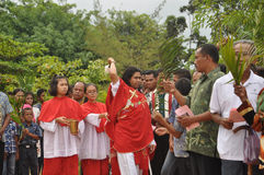 Palmsöndag i Batam, Indonesien Arkivbilder