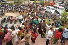 Palmsöndag i Batam, Indonesien Arkivfoton