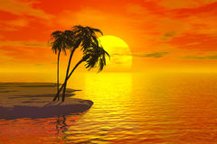 Palms. Tropic landsacpe with palm and sun Royalty Free Illustration
