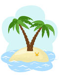 Palms. Tropical island with two palm trees among the sea Stock Images