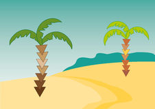 Palms. Desert illustration with palms in vector Royalty Free Stock Image