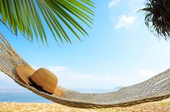 Among the palms. View of nice hammock hanging between two palms with some hat in it royalty free stock photos