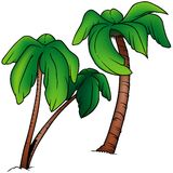 Palms. 2 - two colored cartoon illustration as vector Stock Images