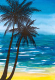 Palms. Background with palms and sea.Picture I have painted myself with watercolors Stock Photography