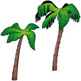 Palms. 3 - two colored cartoon illustration as vector Royalty Free Stock Photo