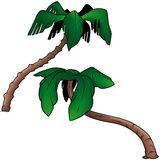 Palms. 4 - two colored cartoon illustration as vector Royalty Free Stock Photos