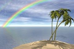 Palms. Rainbow over the island mede on December 2008 Vector Illustration