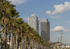 Palms at Barcelona beach with golden fish monument in the backgr Royalty Free Stock Photography