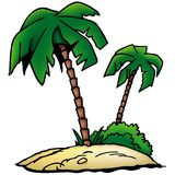 Palms Beach. Colored cartoon illustration as vector Stock Photography