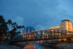 Palms, Bridge, colorful air balloon and Art Deco style Italian restaurant, in Disney Spring, Lake Buena Vista. stock photos
