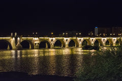 Palms bridge at night (Puente de Palmas, Badajoz), Spain Stock Photo