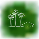 Palms and bungalow Stock Images
