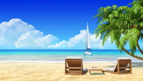 Palms, chaise longue on tropical beach. Travel, holidays, resort. Palms, chaise longue on tropical beach with yacht on background. Concept for holidays, resort stock video