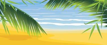 Palms on the coastline. Illustration royalty free illustration